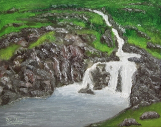Landscape - Iceland Waterfall 001a 8x10 oil on linen panel - Dave Casey - TheDailyPainter.jpg